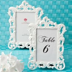 Cadre baroque blanc, marque table nom ou numéro