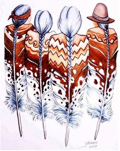 Super Ideas for wall painting ideas indian art Feather Painting, Feather Art, Tattoo Feather, Native American Paintings, Native American Indians, Native American Drawing, Native American Patterns, Native Americans, Native American Design