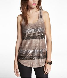 Express Womens Lace And Sequin Stripe Racerback Tank Panama Beige,