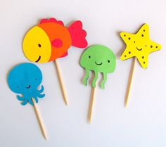 Twelve DIY Under the Sea cupcake toppers or party picks
