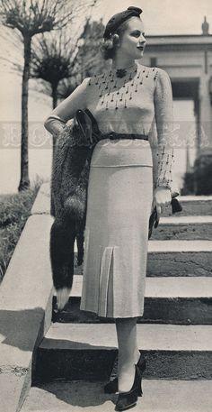 vintage BLOUSE & SKIRT knitting pattern 30s PDF by borisbeka, $3.50