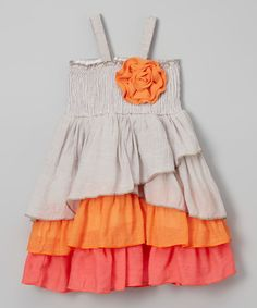 Look at this Gray & Orange Layered Dress - Toddler & Girls on #zulily today!