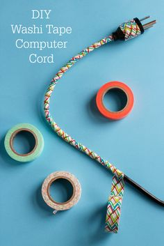 DIY Washi Tape Computer Cord Tutorial - 2 ways to decorate!