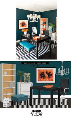 A bright orange and peacock colored office recreated for only $1538 recreated by @lindseyboyer for Copy Cat Chic