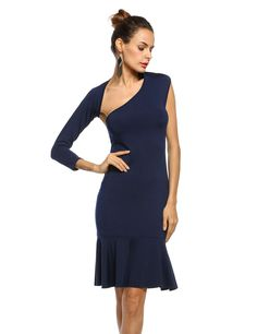 Women Sexy One Shoulder Long Sleeve Bodycon Backless Party Dresses