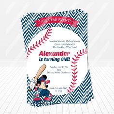 All Stars Mickey Mouse Baseball Birthday Invitation - partyexpressinvitations