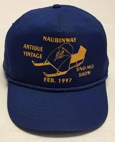 767f5e9ebb8 Vtg Antique Sno Mo Show Hat Naubinway Michigan MI Baseball Cap Snowmobile  1990s