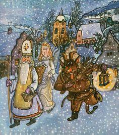 December (St. Nicholas making his rounds) - Prosinec (Svatý Mikuláš, čert a anděl navštěvují děti) Saint Nicholas, Winter Solstice, Christmas Traditions, All Things Christmas, Easy Drawings, Reindeer, Illustrators, Advent, Santa