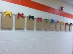 This is how I display student work in the hallway. It allows students to choose their own work they are proud of and hang it themselves. This will give them the responsibility of displaying work.... and takes one more thing off my to do list!
