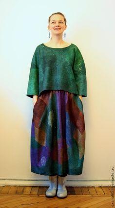 Купить Валяная юбка-баллон Калейдоскоп - разноцветный, авторская ручная работа, нуновойлок, юбка длинная