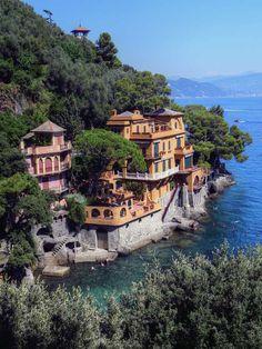 Villa built into the hill side, Portofino.