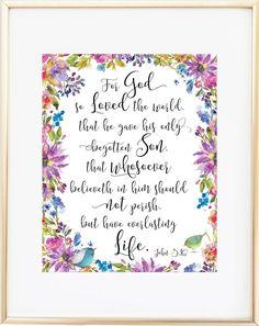 John 3 16 Print - For God So Loved the World