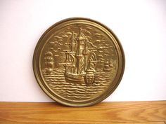 1950s Vintage Brass Wall Plaque Vintage 3 Tall Ships Sailing Ships by FillyGumbo