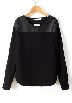 // Black Patchwork Long Sleeve Cotton Blend Blouse