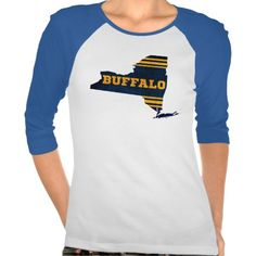 #Buffalo New York Sports Colors Map T Shirts.  Baseball style Raglan hockey t-shirt! For many more #hockey t-shirts, please check out my store: http://www.zazzle.com/gamefacegear*/  #Sabres