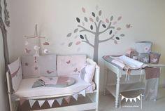 Sur commande - Décoration chambre bébé fille rose poudré gris vieux rose : Linge de lit enfants par la-fabrique-a-reves °°°Tous droits réservés°°°