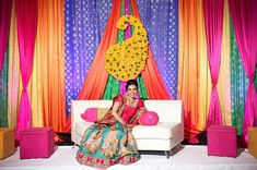 I know I tend to spend a lot of time gushing over Indian weddings and receptions, but the pre-gamer, the Mehndi, is my favorite event of the wedding week. Mehndi Stage, Mehndi Ceremony, Mehndi Night, Mehendi, Wedding Week, Desi Wedding, Wedding Stage, Wedding Ideas, Diwali Decorations