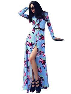 Newly Stylish Slim Slit Flower Maxi Dress For Women