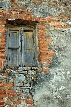 'Brick Wall, Tuscany, Italy' Canvas Print by fauselr A crumbling wall in Tuscany. with a decaying wooden window. Wooden Windows, Old Windows, Windows And Doors, Old Wall, Rustic Doors, Unique Doors, Old Doors, Doorway, Old Houses