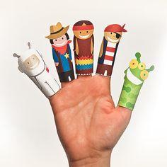 FANTASTIK Paper Finger Puppets  Printable Pdf  DIY Craft by pukaca
