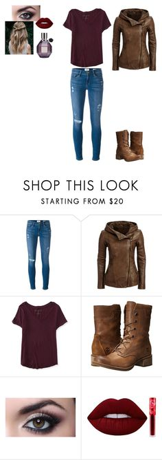 """""""How to wear a Leather jacket"""" by hannahchristine18 on Polyvore featuring Frame Denim, Aéropostale, Timberland, Lime Crime and Viktor & Rolf"""