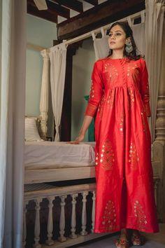 Zubeida Red Chanderi Foil Dress & Palazzo Anarkali Churidar, Anarkali Dress, Anarkali Suits, Salwar Kameez, Casual Wear, Casual Dresses, Casual Outfits, Patiyala Dress, Tailoring Techniques