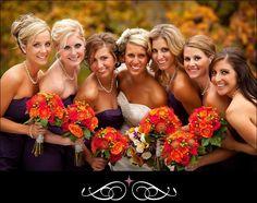 Orange flowers and purple dresses