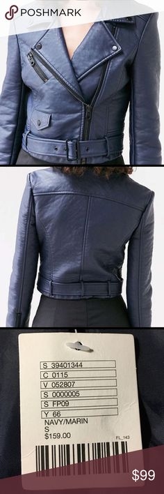 HP 11/15Urban Outfitters New Moto Jacket This trendy belted moto jacket is authentic UO and is new with tags. Comes with a UO bag (ready for gifting). Perfect condition. No flaws. This trendy style looks so tough but feels so soft in pebbled vegan leather. It has a slim cropped fit with classic moto styling, adjusted to fit belt + pockets all over. In perfect new condition.No Trades Urban Outfitters Jackets & Coats