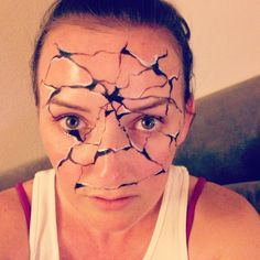 Awesome broken porcelain face #makeup #halloween | See more about Face Makeup…