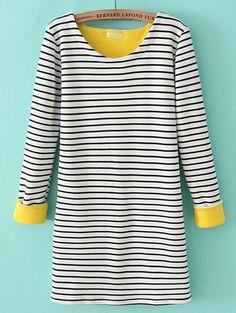 White Long Sleeve Striped Loose T-Shirt EUR€19.69