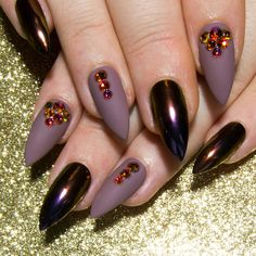 Matte False Nails Chrome Stiletto Nails Crystal Press On