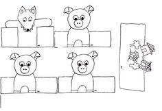 TROIS PETITS COCHONS Marionnettes à doigts de papier