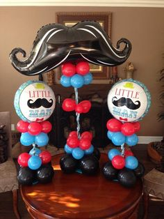 """Photo of Bogey's Bouncers - """"Mustache balloon decor"""" - Chino Hills, CA 2nd Baby Showers, Boy Baby Shower Themes, Baby Shower Cakes, Baby Boy Shower, Little Man Party, Little Man Birthday, Baby Birthday, Mustache Theme, Mustache Birthday"""