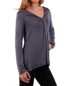 This Charcoal Drape V-Neck Top is perfect! #zulilyfinds