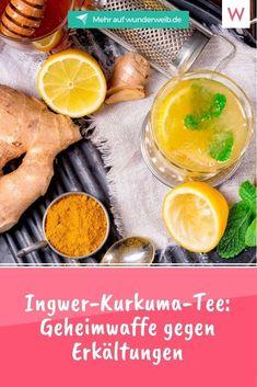Ingwer-Kurkuma-Tee ist einer DER Power-Drinks gegen Erkältungen. Wir verraten dir das Rezept. #gesundheit #erkaeltung #tee #hausmittel Infused Water, Cantaloupe, Smoothie, Fruit, Food, Sugar Free Diet, Healthy Drinks, Remedies, Slim