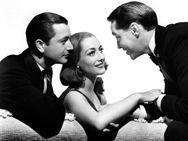 Publicity still of Robert Young, Joan Crawford and Franchot Tone for The Bride Wore Red (1937)