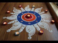 Simple and innovative Sanskar Bharti rangoli designs with colours for Diwali by Shital Daga Easy Rangoli Designs Videos, Rangoli Side Designs, Simple Rangoli Border Designs, Easy Rangoli Designs Diwali, Free Hand Rangoli Design, Small Rangoli Design, Rangoli Ideas, Rangoli Designs With Dots, Mandala Design