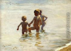 Badende Børn Sommerdage på Skagen strand 1884. af Peder Severin Krøyer