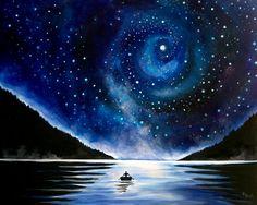 Rowboat under the Stars Landscape Painting por kathrynbeals