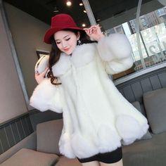 2016 winter warm women rabbit fur coat fox fur collar hooded natural fur coat jacket coats of natural mink Ladies Fur Outerwear