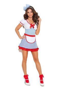 Country Cutie - 2 pc. costume includes dress with attached apron and head band. ( #Halloween , #Costume )