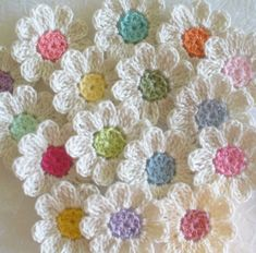Crochet Flower Appliques set of 16 handmade by IreneStitches                                                                                                                                                                                 Mais