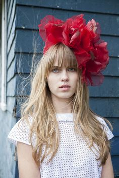 Looking to make a statement? This amazing red floral fascinator is made of two large flowers mounted on a grosgrain wrapped headband. Get ready to be noticed! All E.Kammeyer Accessories are handmade i
