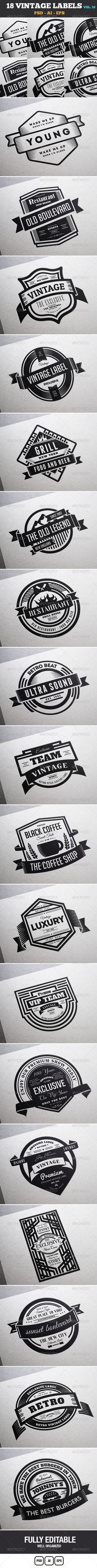 18 Vintage Labels & Badges / Logos / Insignias V10 - Badges & Stickers Web Elements