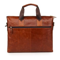 Wholesale Genuine Leather Tote Bag For Men with Detachable Strap - Brown _Crossbody & Business_Men's Bags_