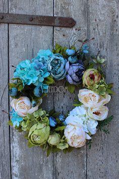 Diy Wreath, Wreaths, Vintage Wreath, Summer Wreath, Holidays And Events, Silk Flowers, Flower Decorations, Crafts To Make, Flower Art