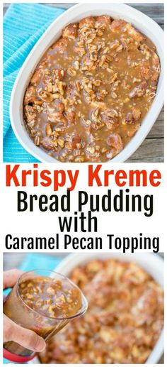 Got leftover Krispy Kreme doughnuts? Make Krispy Kreme Doughnuts Bread Pudding w… Got leftover Krispy Kreme doughnuts? Make Krispy Kreme Doughnuts Bread Pudding with Caramel Pecan Sauce! It is so easy and delicious – perfect for brunch or dessert. Pudding Desserts, Köstliche Desserts, Pudding Recipes, Delicious Desserts, Dessert Recipes, Health Desserts, Brunch Recipes, Krispy Kreme Bread Pudding, Krispy Kreme Doughnut