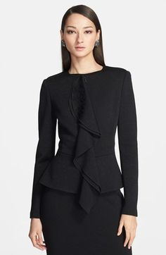 St. John Collection Ruffle Jacquard Knit Peplum Jacket available at #Nordstrom