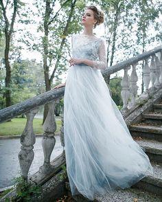 Свадебное платье, серое платье, свадьба,кружево