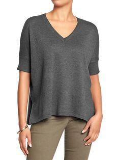 Old Navy   Women's Boxy V-Neck Sweaters •  gray knit sweaters, v neck sweaters